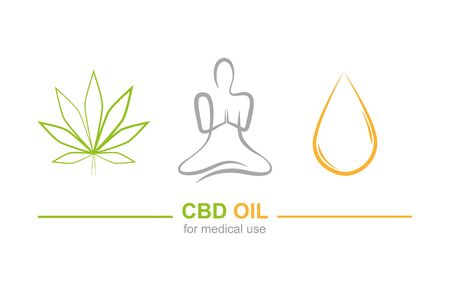 cbd oil for medical use concept with cannabis leaf yoga and oil drop vector illustration EPS10 写真素材 - 132712757