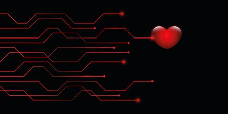 digital red heart online dating concept vector illustration 写真素材 - 132783017