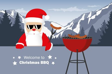 welcome to christmas BBQ santa claus grills sausages funny cartoon vector illustration EPS10 Ilustração