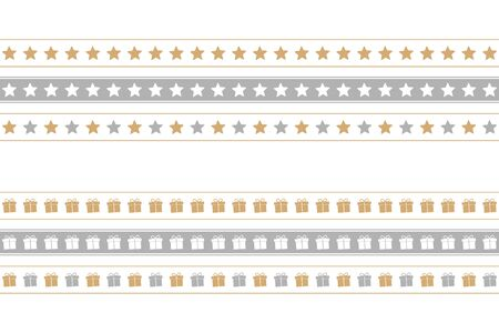 christmas seamless border set with star and gift box pattern vector illustration Иллюстрация