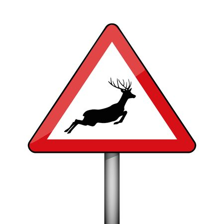 triangular warning sign jumping deer vector illustration