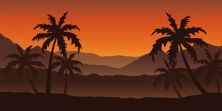 beautiful palm tree silhouette landscape in orange colors vector illustration