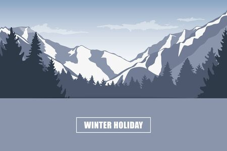 winter holiday snowy mountain landscape vector illustration 写真素材 - 132783062