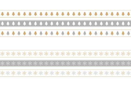 christmas seamless border set with tree and snowflake pattern vector illustration Иллюстрация