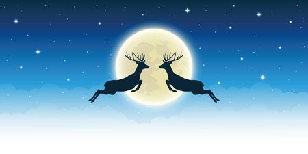 two flying reindeer by full shiny moon in starry sky vector illustration EPS10 Иллюстрация