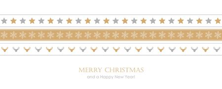 christmas card with pattern star snowflake and deer border 写真素材 - 133356097