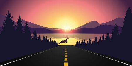 reindeer jumping over asphalted road purple wildlife mountain landscape Иллюстрация