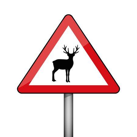 triangular warning sign deer wildlife vector illustration EPS10