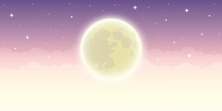 full shiny moon in starry sky vector illustration EPS10