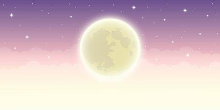 full shiny moon in starry sky vector illustration EPS10 写真素材 - 132995410