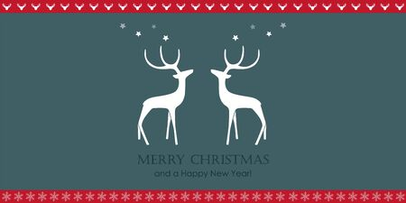 christmas greeting card with reindeers and snowflake border vector illustration EPS10 写真素材 - 133058572