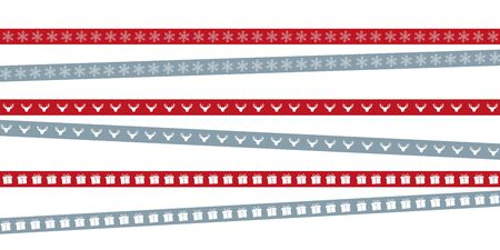 red and blue christmas tape with snowflake deer and gift illustration EPS10 写真素材 - 133357739