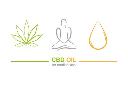 cbd oil for medical use concept with cannabis leaf yoga and oil drop vector illustration EPS10 写真素材 - 133062072