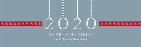 2020 greeting card with hanging snowflake decoration christmas border vector illustration EPS10 写真素材 - 133063059