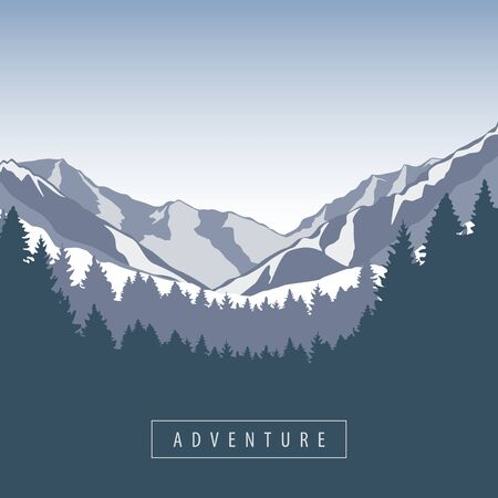 adventure snowy mountain and forest nature landscape vector illustration EPS10