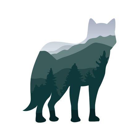 wildlife wolf green forest landscape silhouette vector illustration EPS10