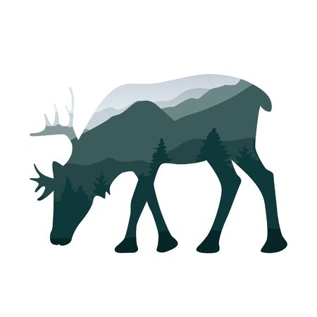 wildlife elk deer green forest landscape silhouette vector illustration EPS10 Ilustração