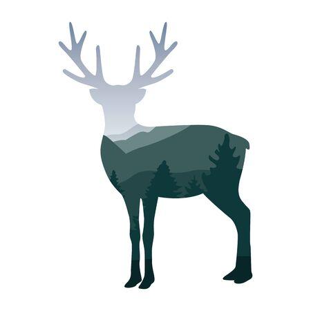 wildlife elk deer green forest landscape silhouette vector illustration EPS10 Иллюстрация