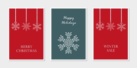set of christmas greeting cards with snowflake vector illustration EPS10
