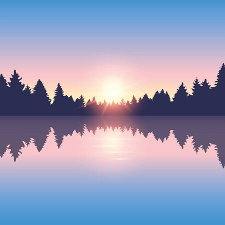 beautiful lake and pine forest nature landscape vector illustration EPS10 写真素材 - 133113889