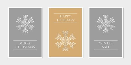 set of christmas greeting cards with snowflake vector illustration EPS10 写真素材 - 133113968