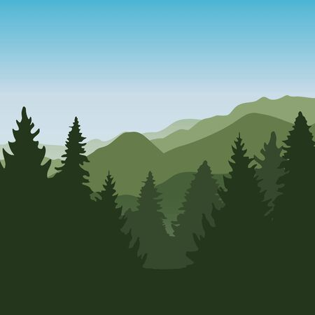 green forest mountain landscape background vector illustration EPS10