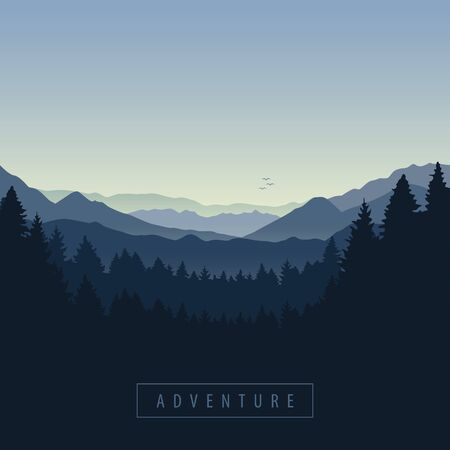 blue forest and mountain nature landscape adventure vector illustration EPS10