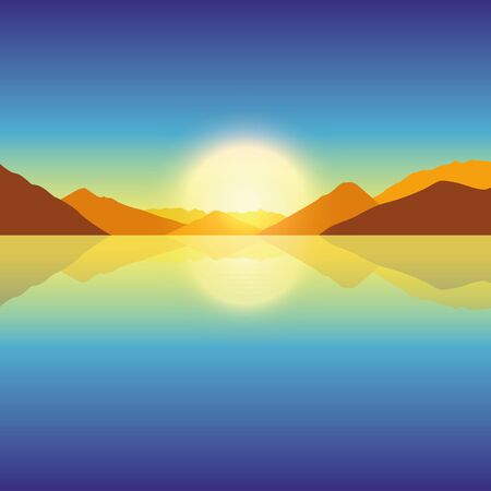 romantic sunset on autumn mountain and ocean landscape vector illustration EPS10