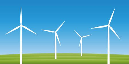 windmills on a field wind power energy concept vector illustration EPS10 Ilustração