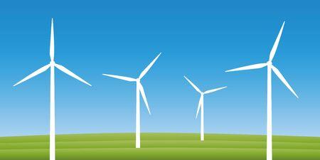 windmills on a field wind power energy concept vector illustration EPS10 Иллюстрация