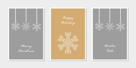 set of christmas greeting cards with snowflake vector illustration EPS10 写真素材 - 133253421