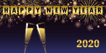 happy new year 2020 golden firework champagne glasses and party flags greeting card illustration Illusztráció