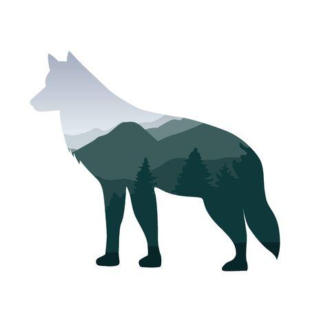 野生動物オオカミ緑の森の風景シルエットベクトルイラストEPS10