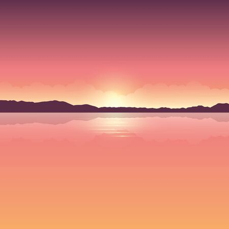 romantic orange sunset ocean landscape vector illustration EPS10