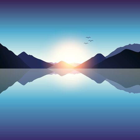 romantic sunset on blue mountain and ocean landscape vector illustration EPS10