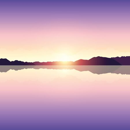 romantic purple sunset ocean landscape vector illustration EPS10 Иллюстрация