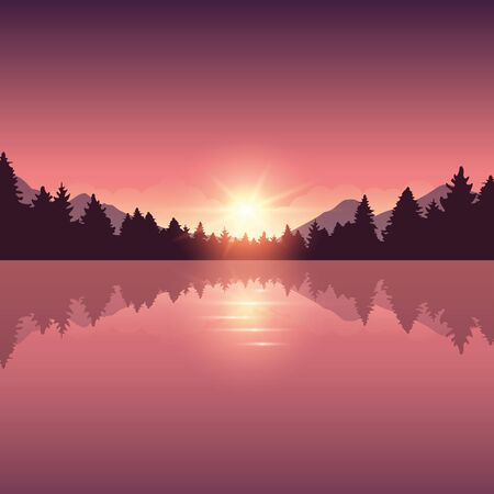 beautiful lake and pine forest nature landscape vector illustration EPS10