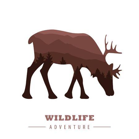 wildlife adventure elk silhouette with forest landscape vector illustration  イラスト・ベクター素材