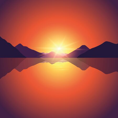romantic sunset on autumn mountain and ocean landscape vector illustration