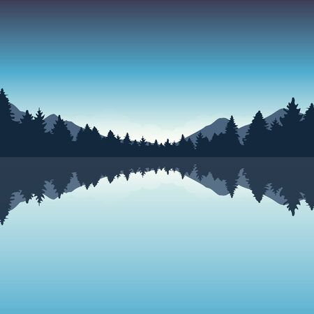 beautiful lake and blue pine forest nature landscape vector illustration