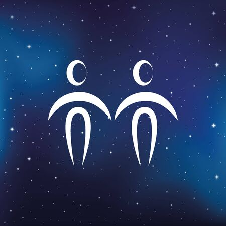 blue zodiac sign gemini horoscope in starry sky vector illustration  イラスト・ベクター素材