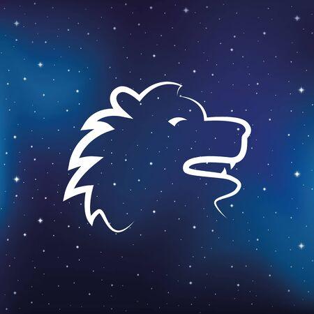 blue zodiac sign lion horoscope in starry sky vector illustration  イラスト・ベクター素材