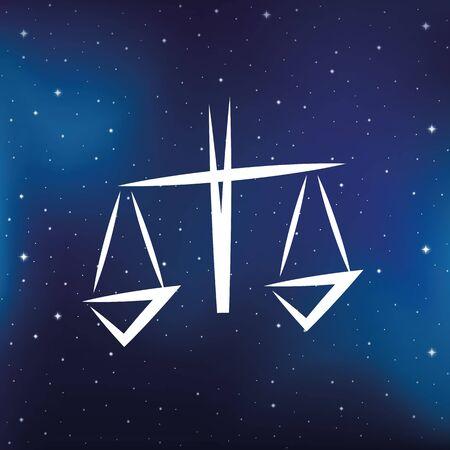 blue zodiac sign libra horoscope in starry sky vector illustration