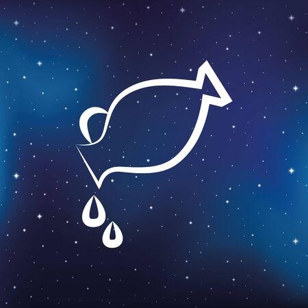 blue zodiac sign aquarius horoscope in starry sky vector illustration