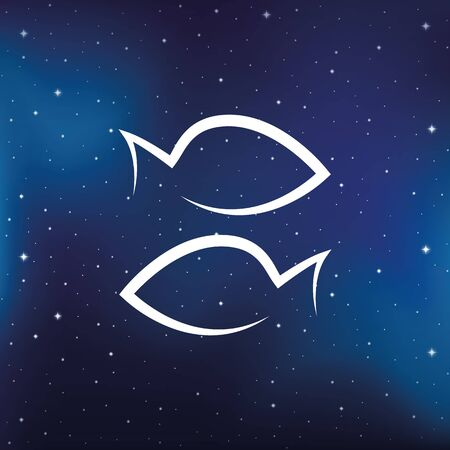 blue zodiac sign fish horoscope in starry sky vector illustration