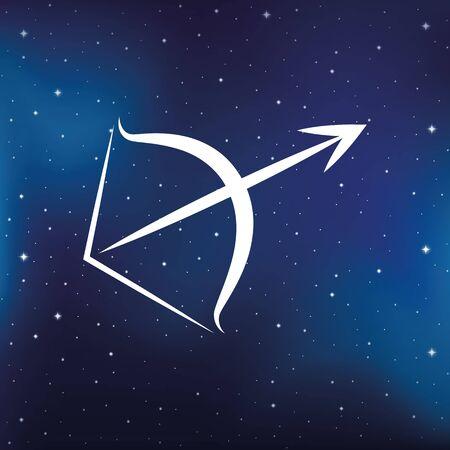 blue zodiac sign sagittarius horoscope in starry sky vector illustration  イラスト・ベクター素材