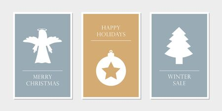 set of christmas greeting cards with angel star and tree vector illustration
