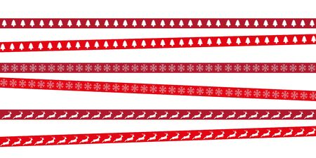 red christmas tape with tree deer and snowflake pattern vector illustration  イラスト・ベクター素材