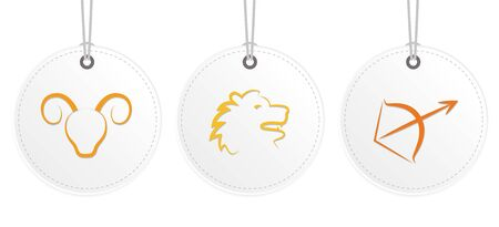 white hanging label with zodiac fire sign horoscope vector illustration