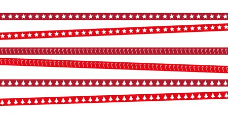 red christmas tape with star candy cane and bell pattern vector illustration